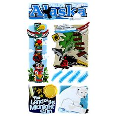 <div>Alaska – land of the midnight sun! This iconic Last Frontier State collection of stickers w...