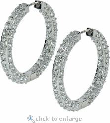 Ziamond Cubic Zirconia Hoop Earrings In 14K White Gold.  The Ziamond Medium Paris Hoops will add the perfect amount of sparkle!  $1095 #ziamond #cubiczirconia #cz #hoops #earrings #14kgold #diamond #jewelry