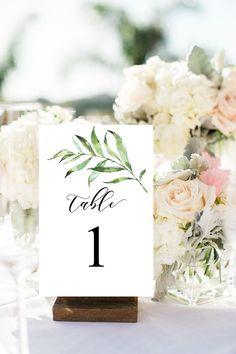 Greenery Wedding Table Numbers 1-30, Green Printable Table Numbers, Woodland Wedding Table Numbers, Party Table Numbers, 075