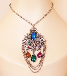 Huge Silver Jeweled Swag Pendant
