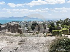 Ruins of Cartagina - monument in Tunisia and part of Musem building. And Tunis panoramic photo.