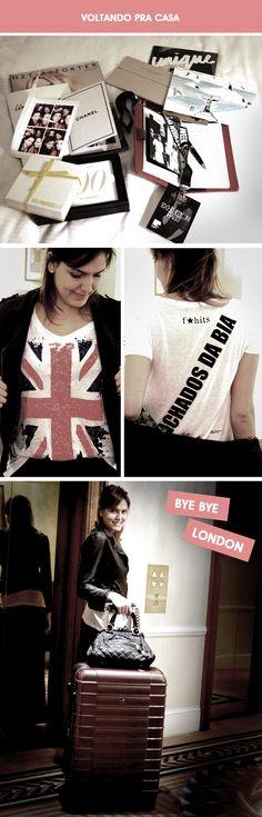 Estou de malas prontas (Le Postiche, lindas, que ganhei de presente), porque logo mais pego meu voo TAM de volta para o Brasil. Me despeço cheia de recordações dessa semana incrível que passei em Londres, junto com o time F*Hits. Acho que, cada vez que usar essa camiseta que a Julie Chermann fez, com a bandeira do Reino Unido, e customizada para cada blog, vou me lembrar de todas as aventuras pelas quais passei com as 14 blogueiras convocadas para cubrir a LFW. Como podem ver, estou levando ...
