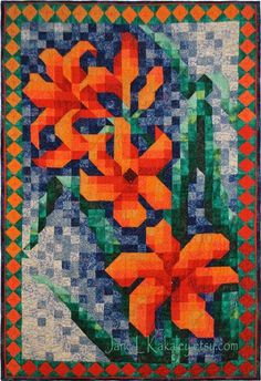 mosaic quilts   Quilt Pattern - Lily Mosaic quilt pattern - Immediate Download PDF