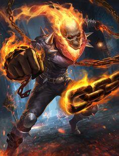 Ghost Rider by Gary Fu Ghost Rider Film, Ghost Rider Tattoo, Ghost Rider Marvel, Ghost Rider Johnny Blaze, Marvel Comics Art, Ms Marvel, Marvel Heroes, Captain Marvel, Punisher Marvel
