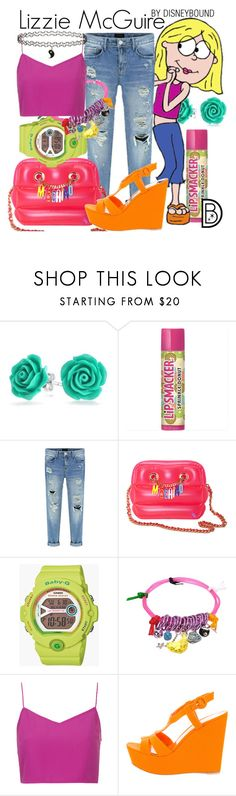 """""""Lizzie McGuire"""" by leslieakay ❤ liked on Polyvore featuring Bling Jewelry, McGuire, Moschino, G-Shock, Bee Charming, Boutique, Gianvito Rossi, Topshop, disney and disneybound"""