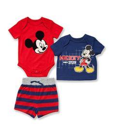Look what I found on #zulily! True Red Mickey Bodysuit Set - Infant #zulilyfinds