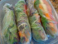 Fresh Spring Rolls & Homemade 2 Minute Peanut Sauce.  Raw, Vegan, GF, Easy