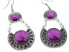 EA107 Tibetan silver exquisite PURPLE crystal drop earing with hook style - suitable only to piercings. Normally retails for around $25 each - my selling price (including postage within Australia) is $15.00 each... Please feel free to contact me if your require price for postage overseas…