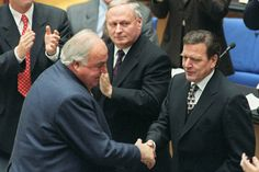 """1998 - General election victory for SPD leader Gerhard Schroeder leads to """"Red-Green coalition"""" with the Green Party. Kohl replaced as CDU leader by Wolfgang Schaeuble."""