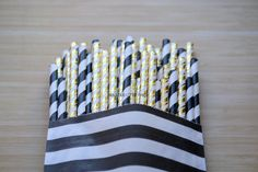 Black and Gold Foil Party Straw Mix The by FabulousLittleParty