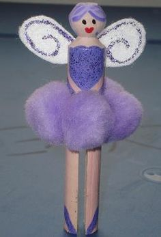 Fairy Peg Doll - Pom poms, Paint, Felt and Glitter.  Instead of Peg, i might try something with a roll of paper