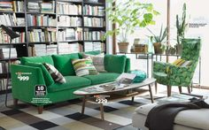 Green cushion + graphic/blocky cushions...plus black/white/gray blocky carpet