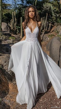 asaf dadush 2018 bridal sleeveless thin strap sweetheart neckline heavily embellished bodice romantic bohemian soft a line wedding dress open strap back sweep train (1) mv -- Asaf Dadush 2018 Wedding Dresses