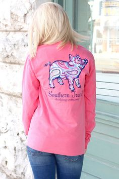 Long sleeve tee from Southern Trend featuring the proud pig logo with a paisley print on the inside. Super cute design and colors on a Comfort Color brand t-shirt. Watermelon in color.