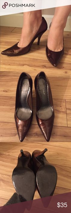 BCBG bronze pointy heels BCBGirls bronze pointy toe heals with faux wooden heel. only worn a couple times. modeled outfit for style inspiration only!  ❥ Open to offers! ❥ Bundle and save! ❥ Same or next day shipping! BCBGirls Shoes Heels
