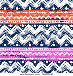 Vector seamless ethnic pattern hand painted with bold zigzag brushstrokes, stripes  and small dots in bright colors: pink, orange, white and navy blue