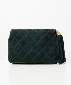 93c3bfafc0e4 Labellov Chanel Green Suede Flap Shoulder Bag ○ Buy and Sell Authentic  Luxury