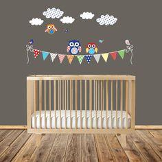 Modern Nursery Wall Art Patterned Flag with Owls by wallartdesign