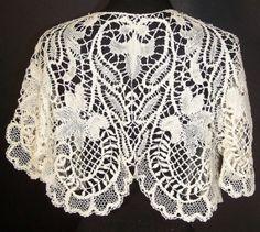 Victorian White Beads Maltese Bobbin Lace jacket by Janny Dangerous