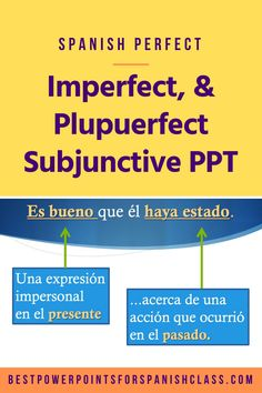 Make the subjunctive easy with this 48-slide Spanish Perfect, Imperfect ,Pluperfect Subjunctive PowerPoint. It has step-by-step explanations and practices and includes: How to form the perfect, imperfect, and pluperfect subjunctive; review of the past participle; the use of the subjunctive after emotion, desire, or impersonal expression in the present about an action that will occur in the future; use of ojalá, demonstration of all 6 ways to use the pluperfect subjunctive and more. Check it… Subjunctive Spanish, Comprehensible Input, Ap Spanish, Interactive Notebooks, Check It Out, Im Not Perfect, The Past, Action, French