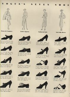 still makes sense today! shoes - Vogue's seven shoe and costume types - 1936 Source by jbyrtusova vintageThis still makes sense today! shoes - Vogue's seven shoe and costume types - 1936 Source by jbyrtusova vintage Costume Année 30, Costumes, Moda Vintage, Vintage Mode, Historical Costume, Historical Clothing, 1930s Fashion, Retro Fashion, Fashion Vintage