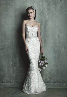 Strapless sheath gown with intricate crystal and pearl inlay throughout // C288 from Allure Couture