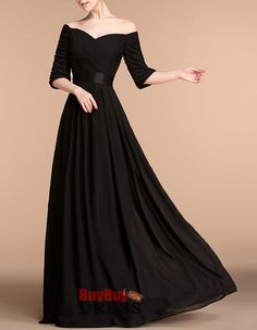 Find elegant off-the-shoulder black long chiffon mother of the bride evening dresses with half sleeves, evening dresses, formal dresses at discount prices