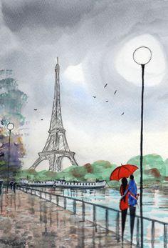 Original Signed Watercolour Painting ~ Paris, City Of Romance ~  By KJ CARR