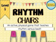Rhythm Chairs Level One: quarter and eighth notes. A fun game to get the kids up and moving and working with rhythms.
