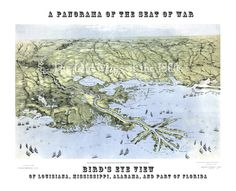 Louisiana, Mississippi, Alabama, and Part of Florida 1861 - Bird's Eye View, Aerial, Panorama, Vintage, Antique, Reproduction, Fine Art by OldMapsOfThe1800s on Etsy https://www.etsy.com/listing/253290648/louisiana-mississippi-alabama-and-part