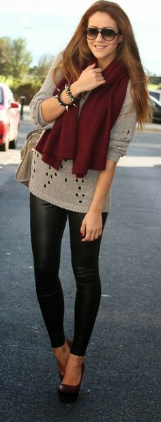 Gorgeous scarf, sweater and leather tights for fall