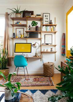 DIY bookshelf and desk wall unit #decor #DIY #estantes #bookcases #walls #paredes