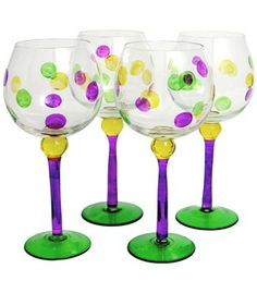 Mardi Gras Dot Wine Glass (Set of 4) Image