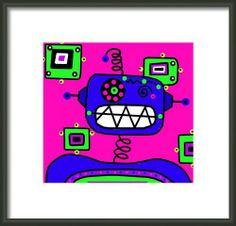 Happybot The Robot Framed Print By Lynnda Rakos