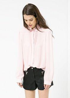 Pleats chiffon shirt - Women - MANGO