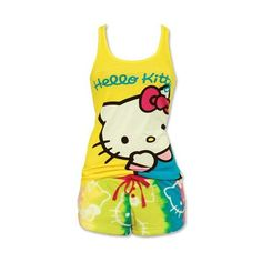 Amazon.com: Hello Kitty Radiant Joy Yellow Tank and Fleece Short Set:... ($35) ❤ liked on Polyvore featuring intimates, sleepwear, pajamas, shirts, tops, hello kitty, short pajamas, fleece pyjamas, hello kitty pajamas and fleece pjs