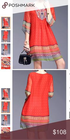 Oulie Red Embroidery Boho Mini Dress.100% Silk Stylewe _ mini dress . Material Silk . Fabric 100% silk . Label size Xl . Made in China . U.s. Size 6-8 . Color is red . Has sheer bell sleeves . Beading on front yoke . Length is 35 inches . It is a semi - sheer . A beige slip would work great underneath if you choose . 3/4 inch sleeves . Silhouette is A- line . Oulie Dresses Mini