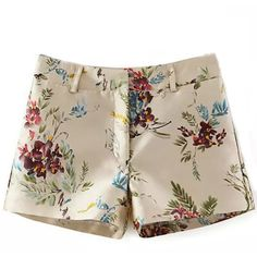 Beige Floral Print Casual Shorts (135 VEF) ❤ liked on Polyvore featuring shorts, bottoms, pants, short, beige, short shorts, floral printed shorts, summer shorts, beige shorts and floral shorts