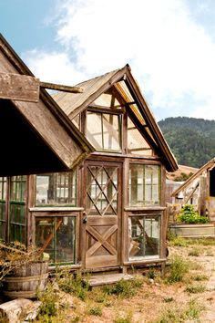 Greenhouse from reclaimed windows and doors.