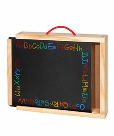 Chalkboard Carryall. This handy carrier has a chalkboard front and plenty of storage space for chalk, erasers, and more. $18