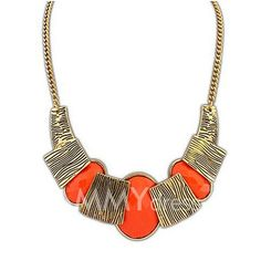 $3.91 Characteristic Candy Color Faux Gem Pendant Necklace For Women