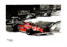 F1 Monaco GP, 1981. Winner Gilles Villeneuve, #27, Ferrari 126CK, Turbo.
