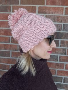 Women s Winter Warm Hand Knit Hat Beanie Chunky Handmade Knitted Size M  Pink  fashion   58c743115334