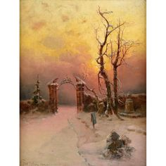 Klever, Julius von 1850 Tartu - 1924 St. PetersburgWinter Russian Art, Painting, Winter Scenery, Auction, Kunst, Painting Art, Paintings, Painted Canvas, Drawings