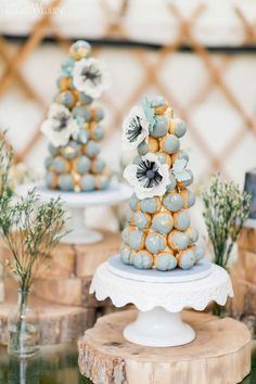 Croquembouche Towers, Gold Leaf Croquembouche Tower, Dusty Blue Croquembouche Tower, Boho Wedding Sweet Table | ElegantWedding.ca | #sweettable #croquembouchetower