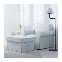IKEA - EKTORP, Ottoman, Nordvalla light blue, , You can put things like magazines and toys in the storage space under the seat.A range of coordinated covers makes it easy for you to give your furniture a new look.The cover is easy to keep clean as it is removable and can be machine washed.Works as an extra seat or to put things on.10-year limited warrranty. Read about the terms in the limited warranty brochure.