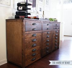 DIY Restoration Hardware Printmakers Sideboard - free plans and tutorial! #restorationhardware #sideboard #cabinet #barcabinet #tutorial #buildit #buffet