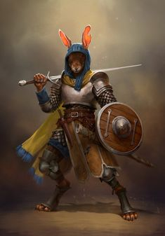 Hare Fighter by Valera Lutfullina : ImaginaryCharacters Fantasy Kunst, Fantasy Rpg, Medieval Fantasy, Fantasy Artwork, High Fantasy, Fantasy Character Design, Character Design Inspiration, Character Concept, Character Art