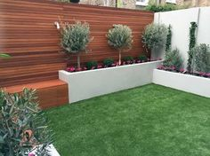 Image result for timber feature wall in grass area backyard