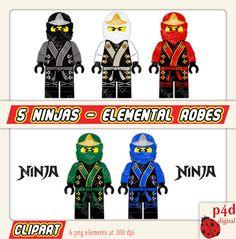 5 Ninja Elemental Robes  Clipart  Digital by paper4download